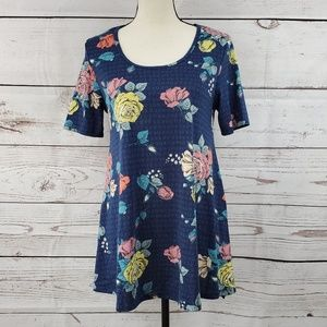 LuLaRoe XS Perfect T floral side slit flowy shirt